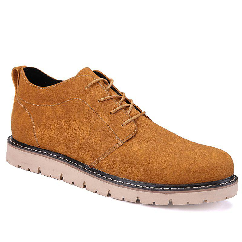 Men Casual Trend of Fashion Rubber Leather Outdoor Lace Up Shoes - BROWN 40