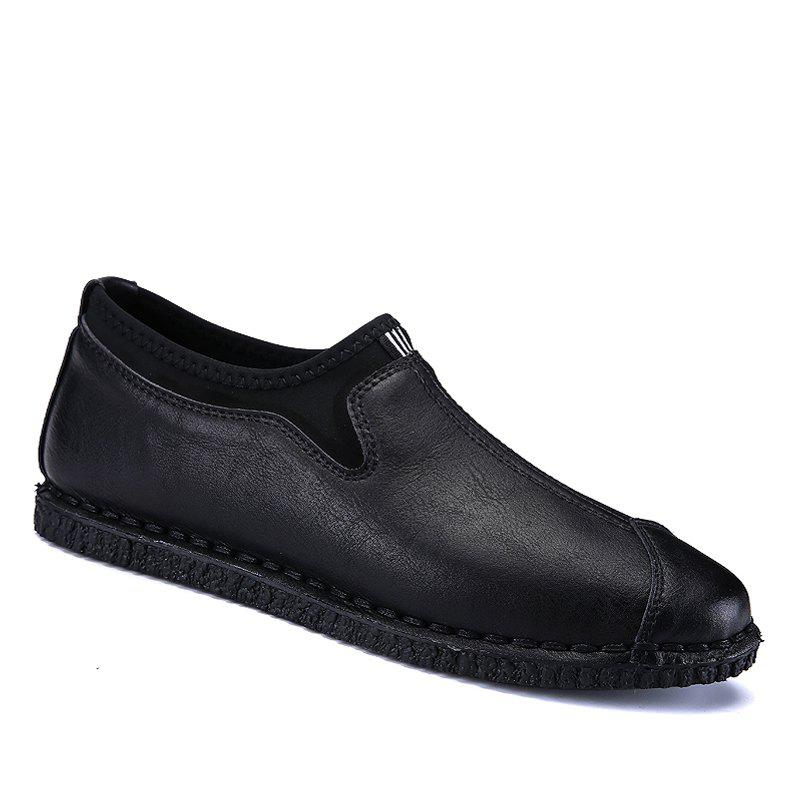 Men Casual Trend of Fashion Rubber Leather Outdoor Lace Up Flat Shoes - BLACK 40