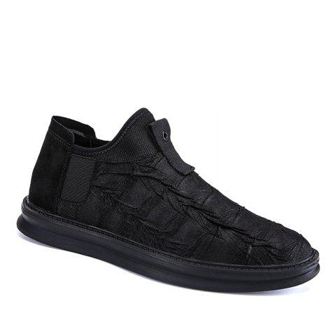 Men Casual Trend of Fashion Rubber Leather Outdoor Slip on Flat Shoes - BLACK 40