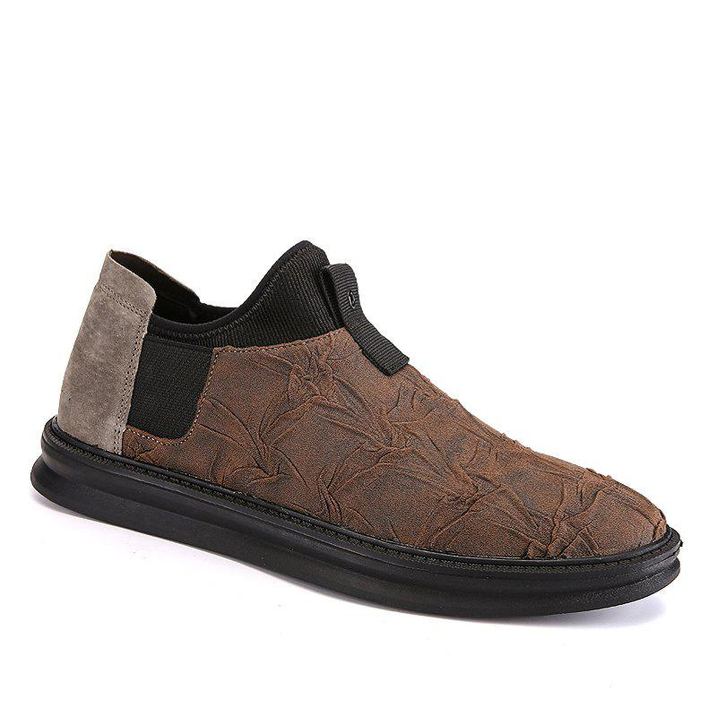 Men Casual Trend of Fashion Rubber Leather Outdoor Slip on Flat Shoes - KHAKI 40