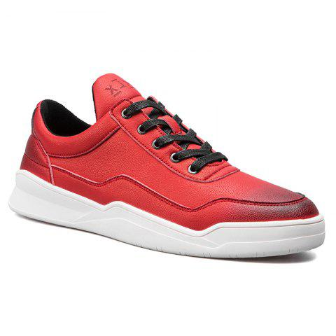 Men Casual Trend of Fashion Pu Leather Outdoor Flat Lace Up Shoes - RED 40
