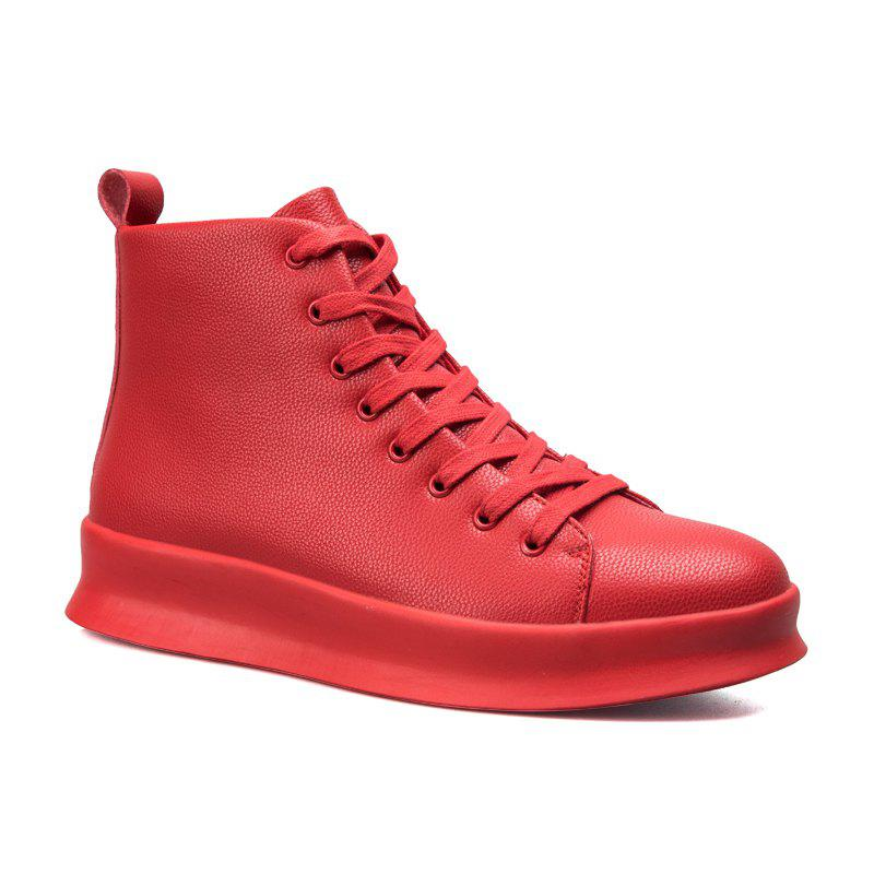 Men Casual Trend of Fashion Pu Leather Outdoor Flat Lace Up Ankle Boots - RED 40