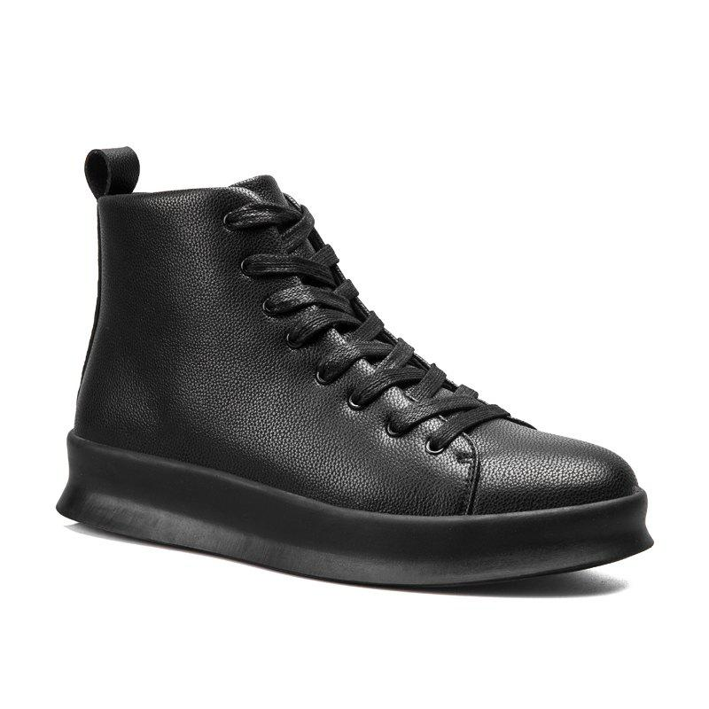 Men Casual Trend of Fashion Pu Leather Outdoor Flat Lace Up Ankle Boots - BLACK 40