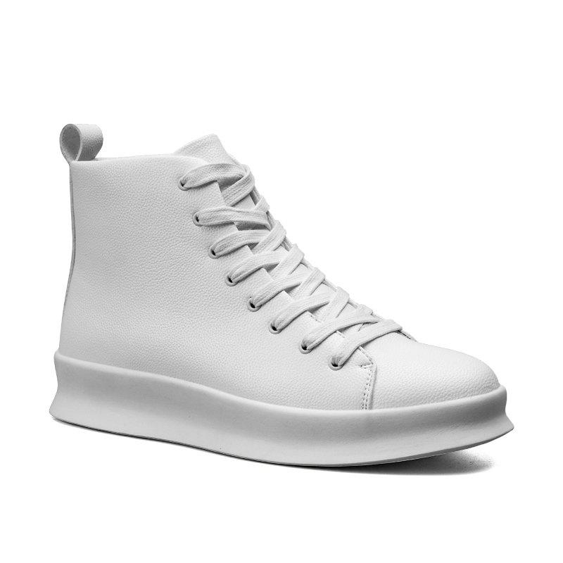 Men Casual Trend of Fashion Pu Leather Outdoor Flat Lace Up Ankle Boots - WHITE 40