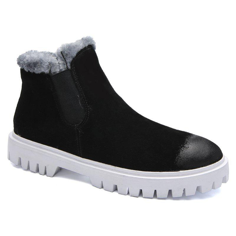 Men Casual Trend of Fashion Pu Leather Outdoor Slip on Snow Ankle Boots - BLACK 40
