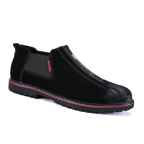 Men Casual Trend of Fashion Rubber Leather Outdoor Slip on Shoes - BLACK 40