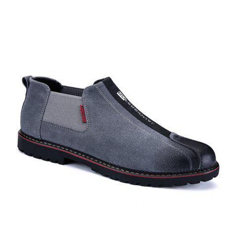 Men Casual Trend of Fashion Rubber Leather Outdoor Slip on Shoes - GRAY 42