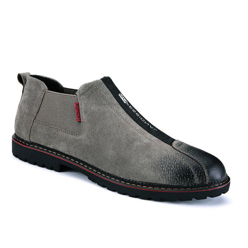 Men Casual Trend of Fashion Rubber Leather Outdoor Slip on Shoes - KHAKI 40