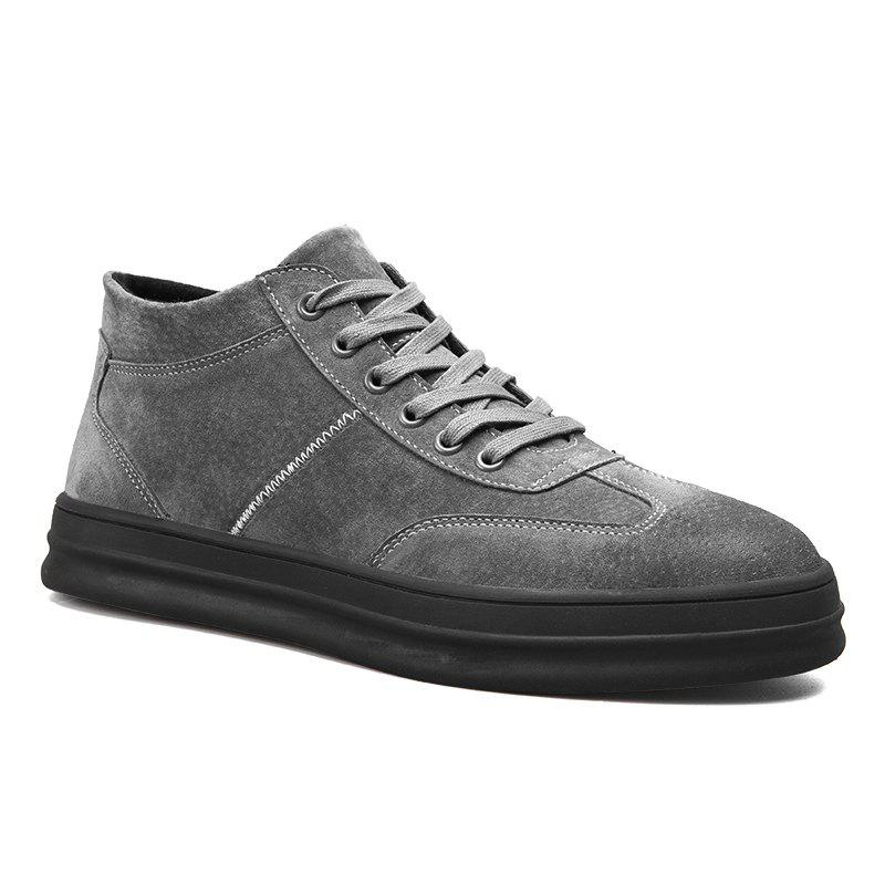 Men Casual Trend of Fashion Rubber Lace Up Leather Outdoor Shoes - GRAY 40