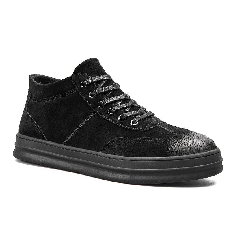 Men Casual Trend of Fashion Rubber Lace Up Leather Outdoor Shoes - BLACK 40