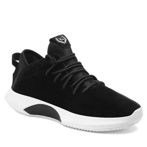 Men Casual Trend of Fashion Rubber Lace Up Leather Runing Outdoor Walking Ankle Boots - BLACK 40