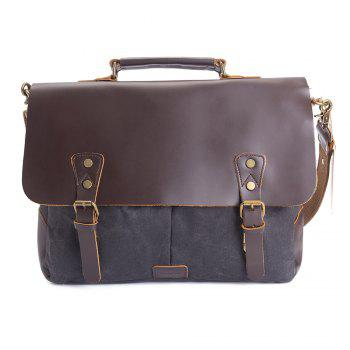 "WalkingToSky 15.6 ""Porte-documents Porte-documents En Cuir Vintage Messenger Sac Toile École Satchel Sac Huile peau"