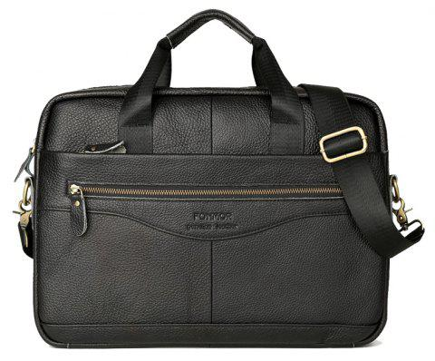 FONMOR Genuine Leather Briefcases Men Handbag Cowhide Business laptop bag - NATURAL BLACK