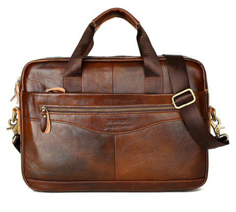 FONMOR Men Genuine Leather Briefcases Handbag Cowhide Business Laptop Bag - LIGHT BROWN