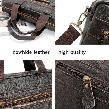 FONMOR Genuine Leather Men Totes Bag Casual Business Men's Handbags Cross body Bags Briefcase - BLACK