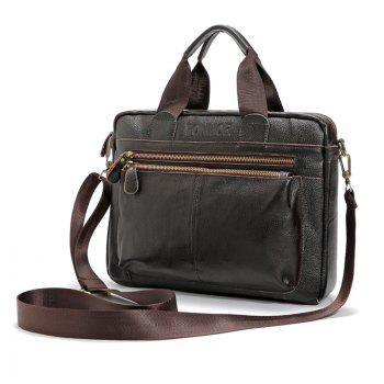 FONMOR Genuine Leather Men Totes Bag Casual Business Men's Handbags Cross body Bags Briefcase - BROWN BROWN