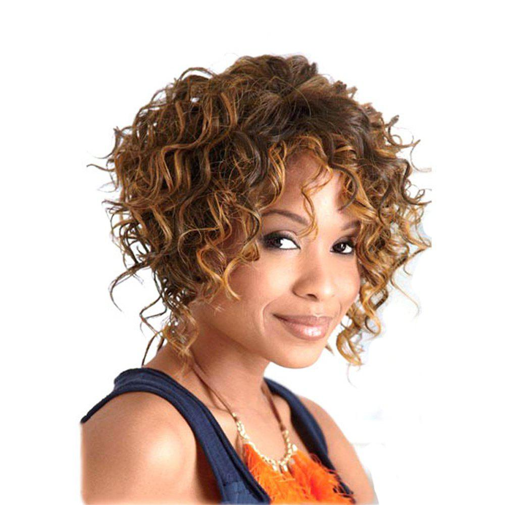 Best Golden Blonde Color Short Curly Synthetic Hair Wig for Women - GOLDEN