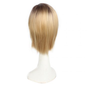 Short Bob Style Middle Part Ombre Dark Root Natural Straight Synthetic Hair Wigs for Women - GRADIENT