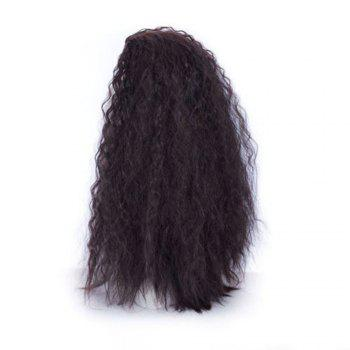 60cm Long Wavy Curly Natural Black / Golden Blonde Cosplay Synthetic Hair Wig - BLACK