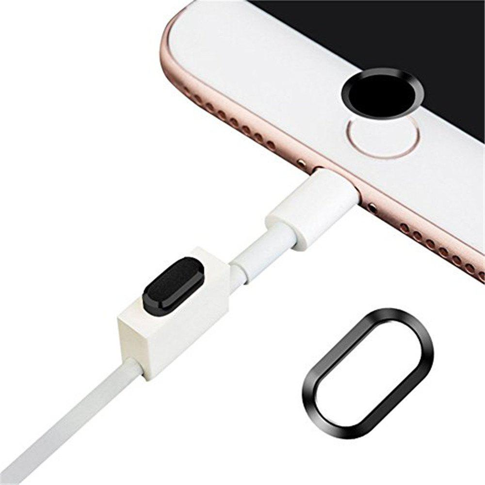 Anti-dust Dust Plug Set Camera Lens Protective Case Cover with Home Button Sticker for iPhone 8 Plus  / 7 Plus - BLACK