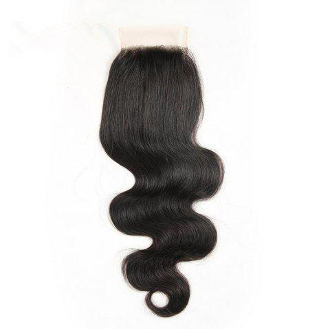 Brazilian Body Wave Lace Closure 4x4 Free Part 130percent Swiss Lace Remy Human Hair Closure - BLACK 20INCH