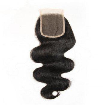 Brazilian Body Wave Lace Closure 4x4 Free Part 130percent Swiss Lace Remy Human Hair Closure - BLACK 14INCH