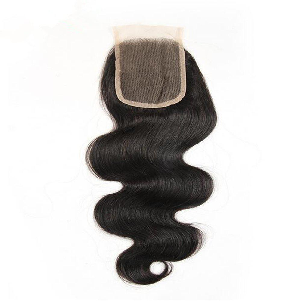Brazilian Body Wave Lace Closure 4x4 Free Part 130percent Swiss Lace Remy Human Hair Closure - BLACK 8INCH