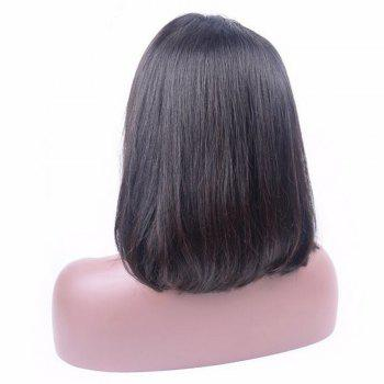 Human Remy Hair Bob Wigs 130 Percent Brazilian Lace Front African American Short For Black Women - BLACK 14INCH