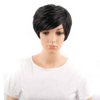 Synthetic Lace Front Short Straight Hair Bob Wig Adjustable For African Women High Temperature Fiber - BLACK BLACK