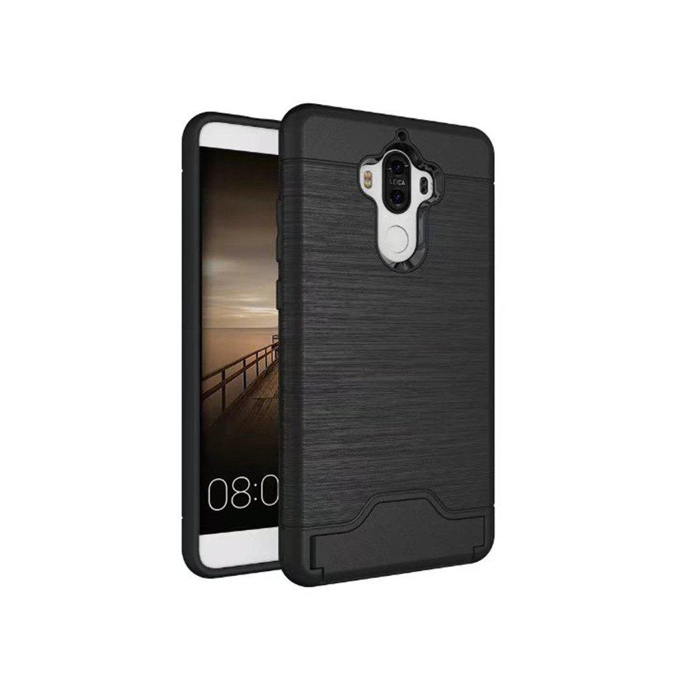 2 in 1 Hybrid Wire Drawing Armor PC +TPU Case With Stand Card Holder for HUAWEI Mate 9 - BLACK