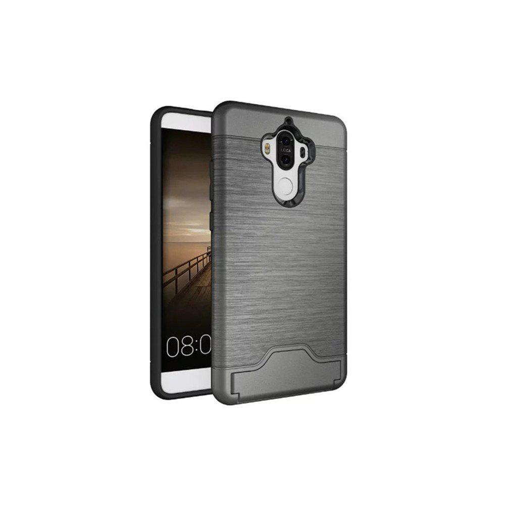 2 in 1 Hybrid Wire Drawing Armor PC +TPU Case With Stand Card Holder for HUAWEI Mate 9 - GRAY