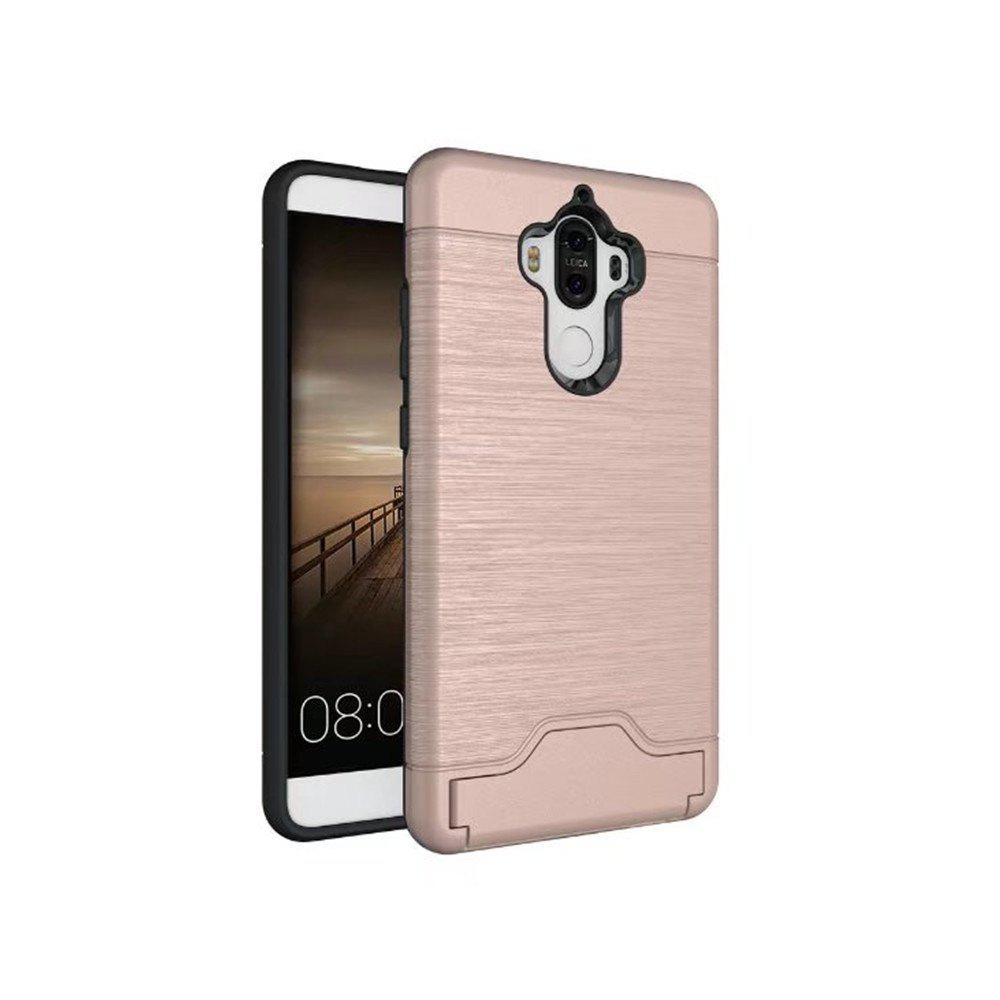 2 in 1 Hybrid Wire Drawing Armor PC +TPU Case With Stand Card Holder for HUAWEI Mate 9 - ROSE GOLD