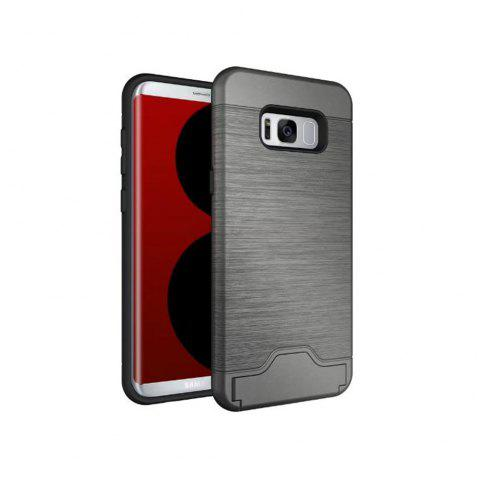 2 in 1 Hybrid Wire Drawing Armor PC +TPU Case With Stand Card Holder for Samsung Galaxy S8 - GRAY