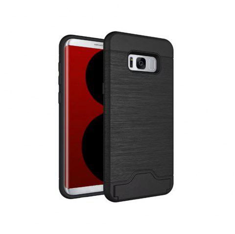 2 in 1 Hybrid Wire Drawing Armor PC +TPU Case With Stand Card Holder for Samsung Galaxy S8 Plus - BLACK