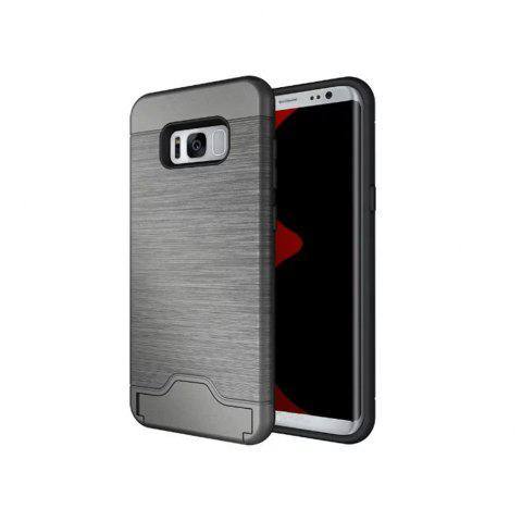 2 in 1 Hybrid Wire Drawing Armor PC +TPU Case With Stand Card Holder for Samsung Galaxy S8 Plus - GRAY