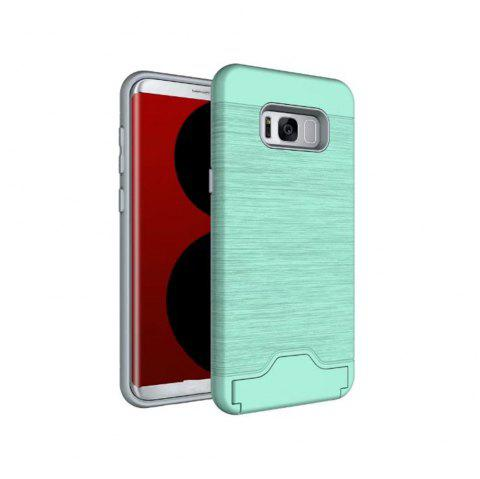 2 in 1 Hybrid Wire Drawing Armor PC +TPU Case With Stand Card Holder for Samsung Galaxy S8 Plus - GREEN