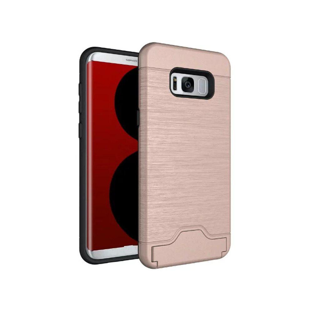 2 in 1 Hybrid Wire Drawing Armor PC +TPU Case With Stand Card Holder for Samsung Galaxy S8 Plus - ROSE GOLD