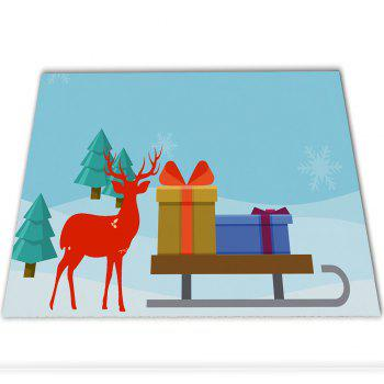 Christmas Deer Flannel Doormat Rug Mat - LIGHT BULE 60CM X 40CM