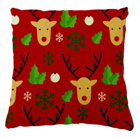 Soft Pillowcase Christmas Home Decor Elk Pillow Cover - RED 16INCH X 16INCH