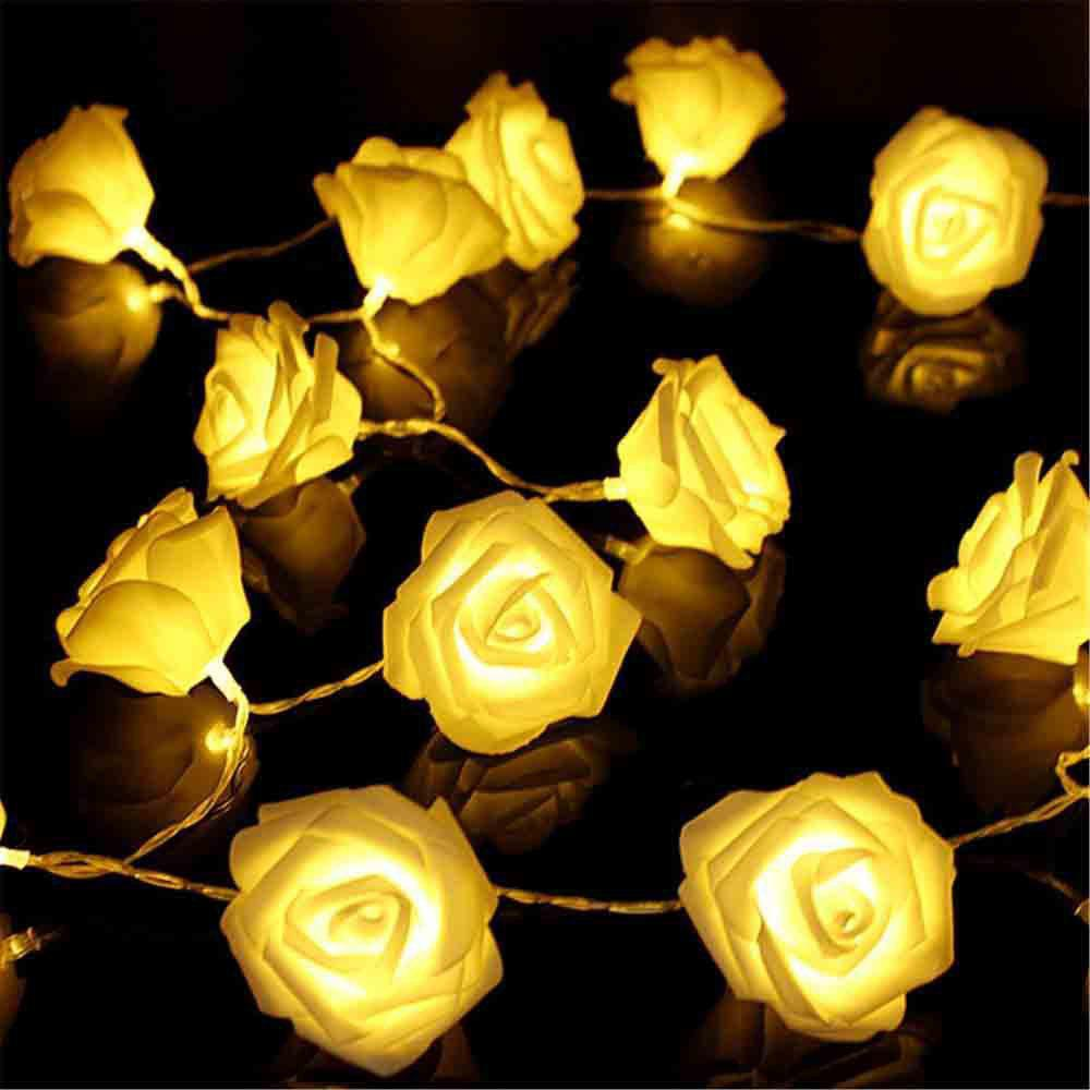 33FT New Christmas Day Decoration Supplies LED Lights Rose String Light - YELLOW