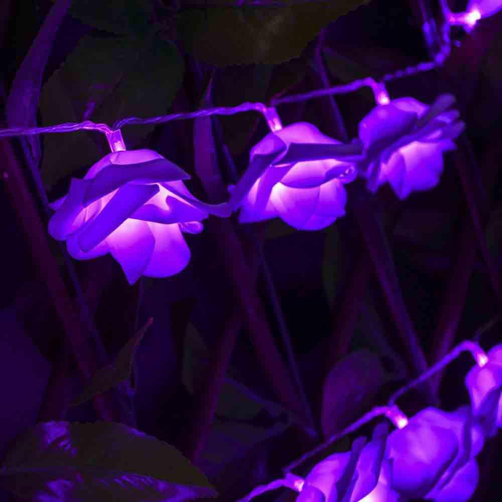 33FT New Christmas Day Decoration Supplies LED Lights Rose String Light - PURPLE