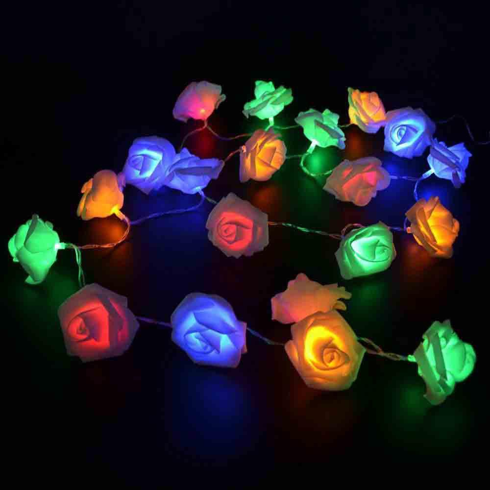 33FT New Christmas Day Decoration Supplies LED Lights Rose String Light - COLORFUL