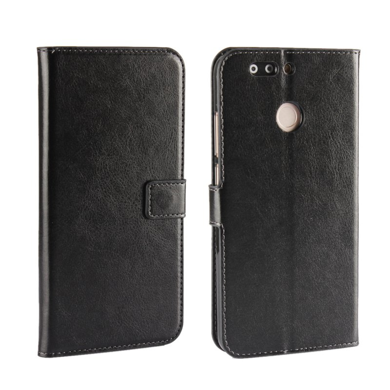 Pure Color Mad Horse Grain PU Leather Case for Huawei Honor V9 - BLACK