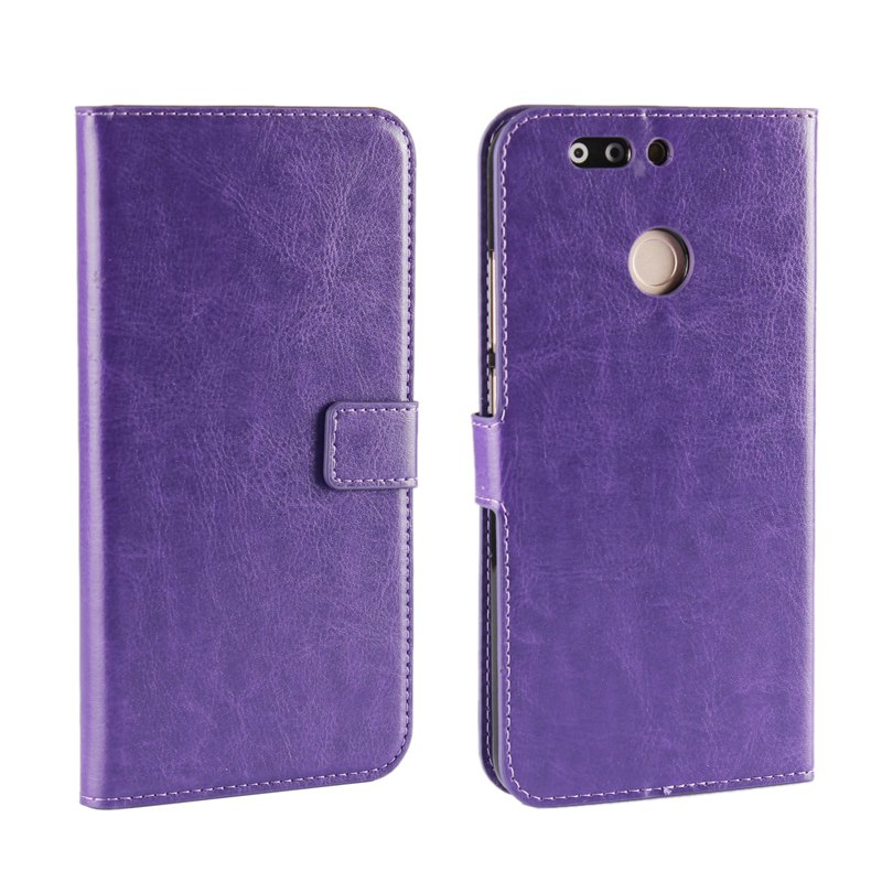 Pure Color Mad Horse Grain PU Leather Case for Huawei Honor V9 - PURPLE
