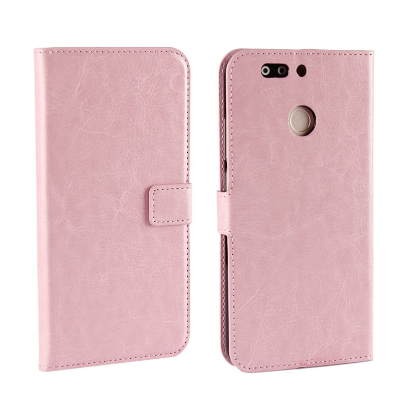 Pure Color Mad Horse Grain PU Leather Case for Huawei Honor V9 - PINK