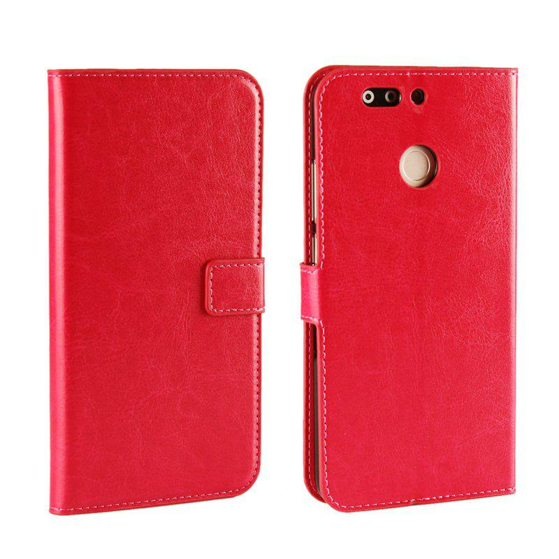 Pure Color Mad Horse Grain PU Leather Case for Huawei Honor V9 - RED