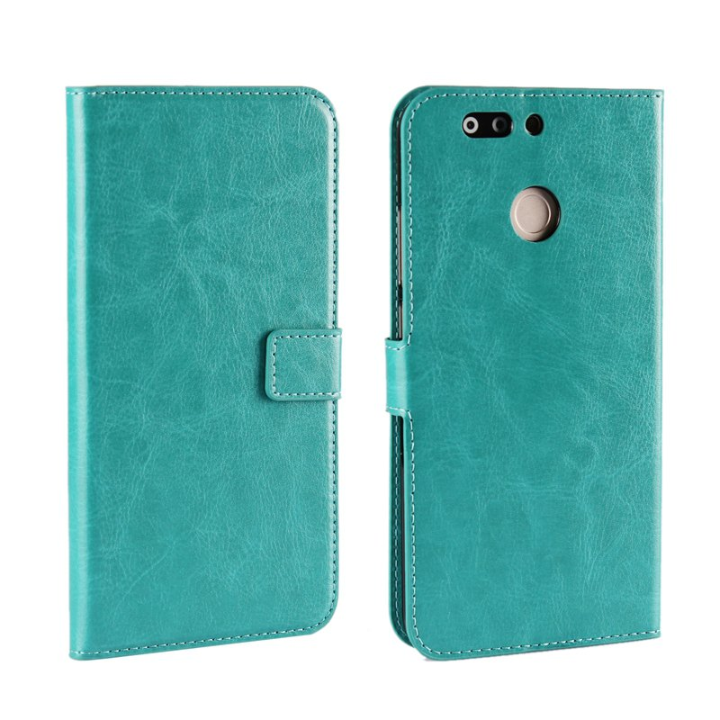 Pure Color Mad Horse Grain PU Leather Case for Huawei Honor V9 - GREEN