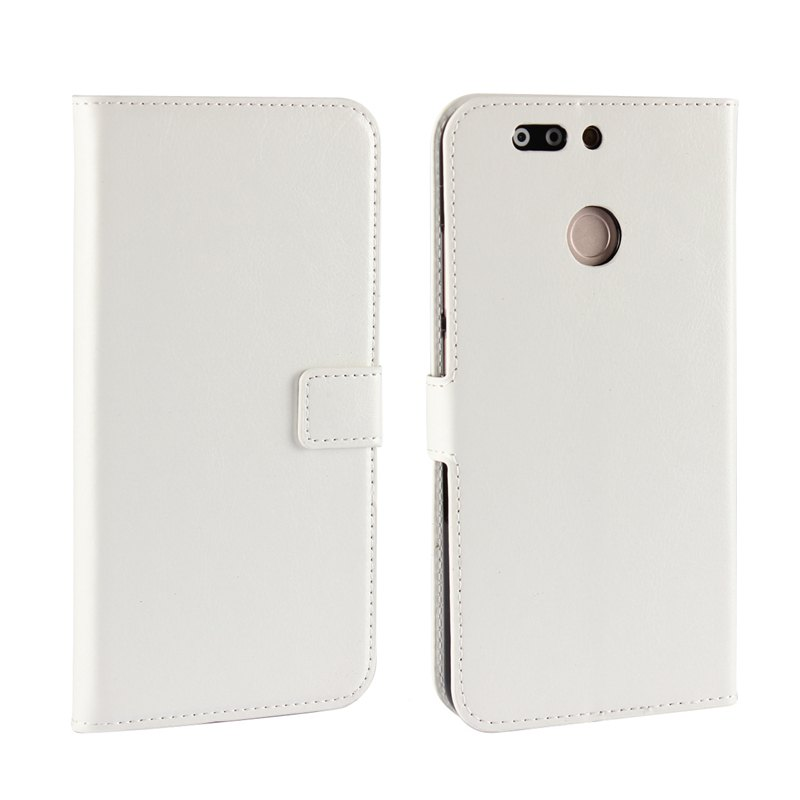 Pure Color Mad Horse Grain PU Leather Case for Huawei Honor V9 - WHITE