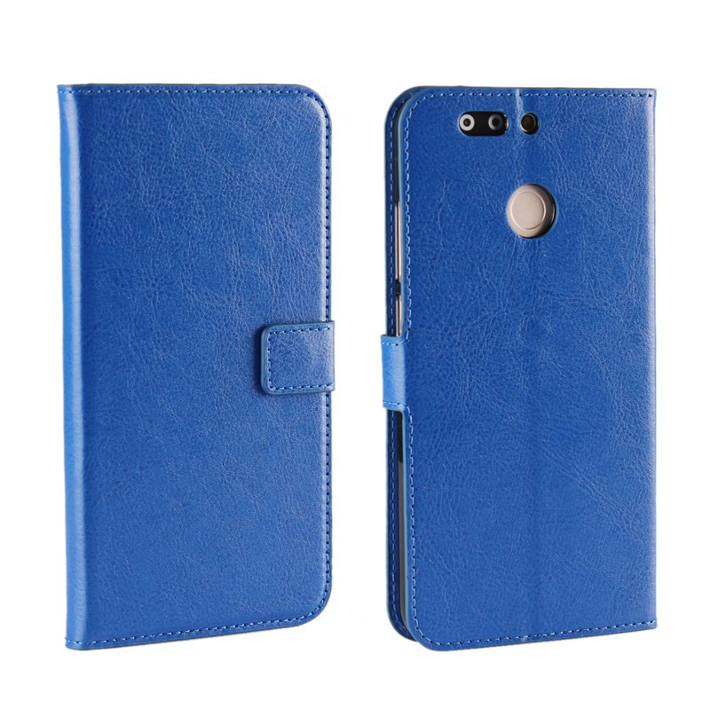 Pure Color Mad Horse Grain PU Leather Case for Huawei Honor V9 - BLUE