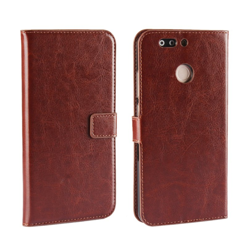 Pure Color Mad Horse Grain PU Leather Case for Huawei Honor V9 - BROWN
